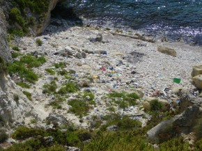 The beach in Fomm ir-Rih is full of plastic stuff