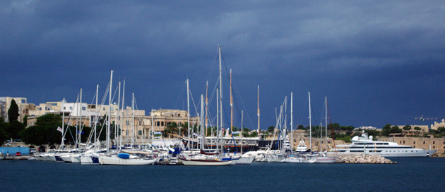 Msida Marina and Black Pearl showing behind the sailboats