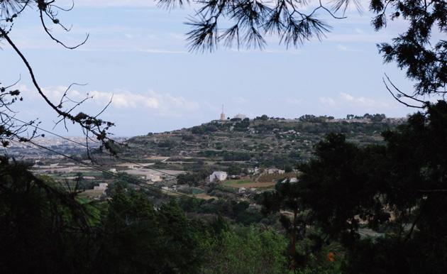 View over Laferla cross from Buskett Gardens