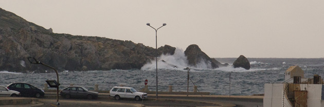 Waves at Cirkewwa ferry terminal