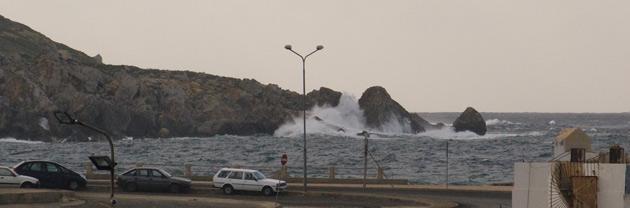 Waves at Cirkewwa ferry terminal